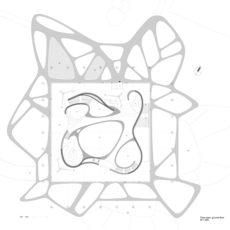 blueprint section plane groiundfloor Fluid and Organic Modern Architecture - Leonardo Glass Cube in Bad Driburg by 3Deluxe
