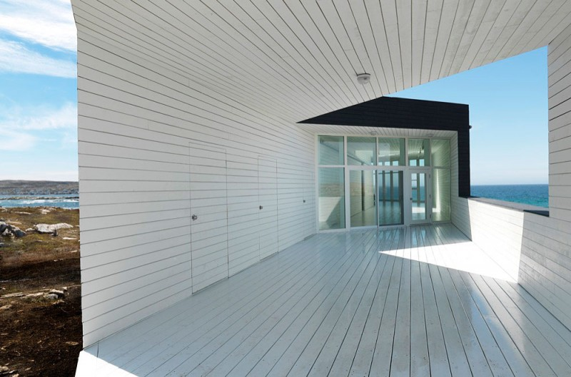 Fogo Island Long Studio by Saunders Architecture white deck