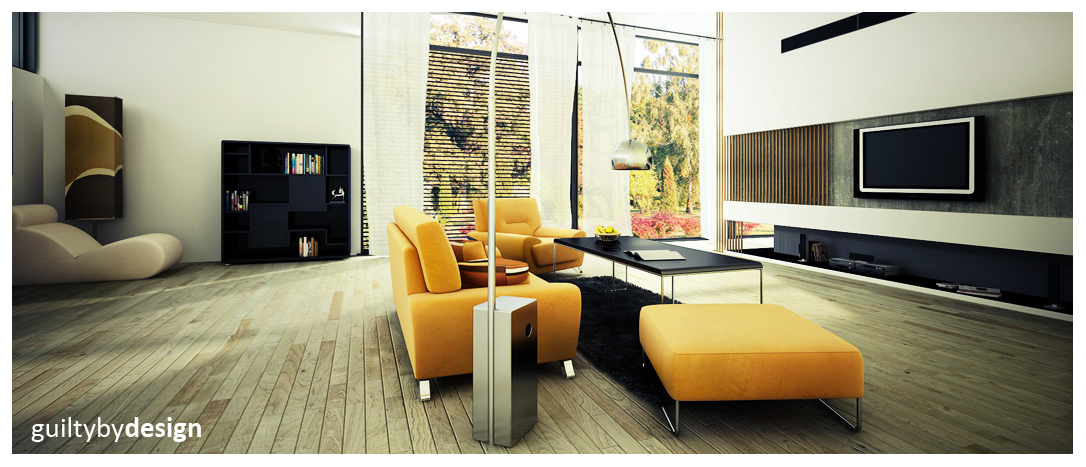 yellow couch in Fresh and Sleek Modern Bachelor Pad Ideas Collection Homesthetics