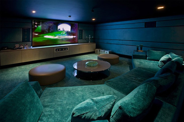 home theatre in Fresh and Sleek Modern Bachelor Pad Ideas Collection Homesthetics