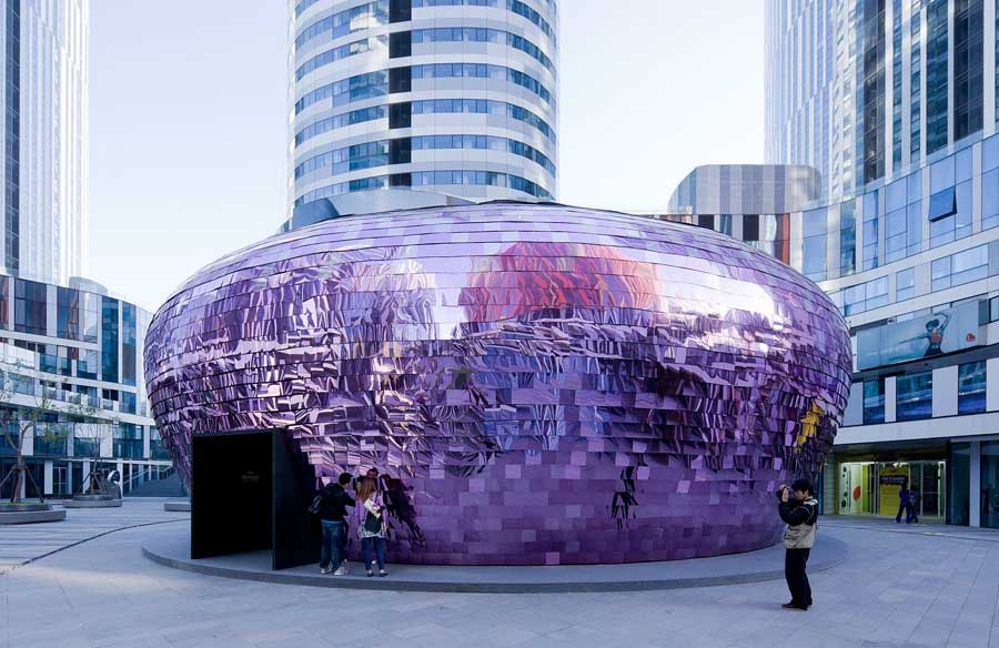 Futuristic Mirror Covered Shape-The Flockr Pavilion in Bejing by SO-IL Architects Homesthetics