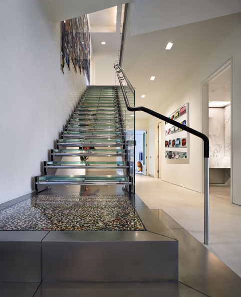 glass staircase High End Penthouse-Duplex Apartment On Top Of Bloomberg Tower, Manhattan, New York