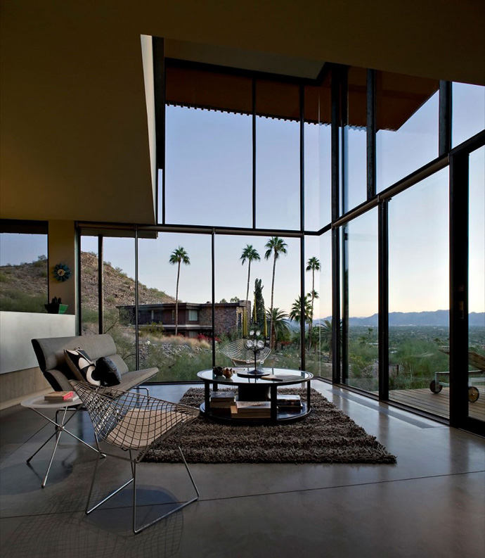 two storey modern living room Jarson Residence -Contemporary Modern Mansion by Will Bruder+PARTNERS