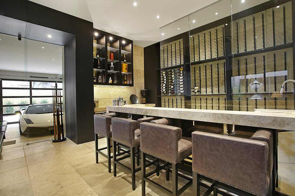 black and white living room interiior dinning are Large Luxurious Modern Mansion in Melbourne Wearing Contemporary Style
