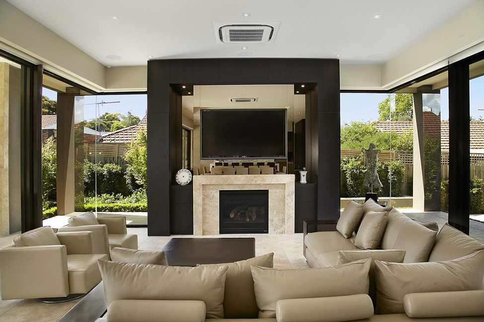 black and white living room interior design Large Luxurious Modern Mansion in Melbourne Wearing Contemporary Style