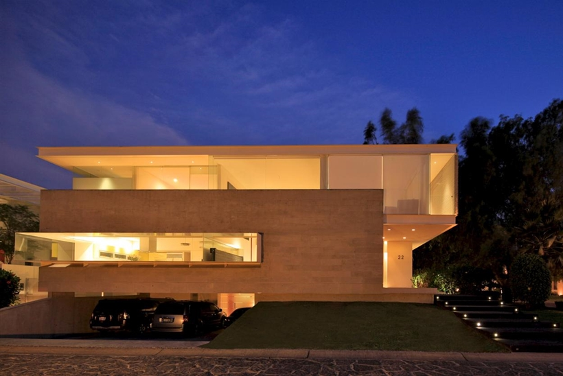 main facade at night Luxurious Modern Mansion with Huge Cantilever in Contemporary Style - Godoy House in Mexico
