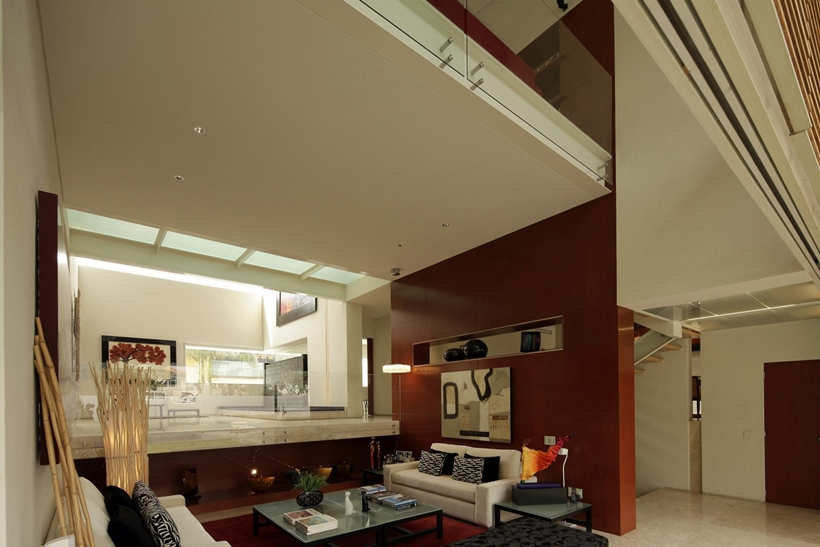living room interior design Luxurious Modern Mansion with Huge Cantilever in Contemporary Style - Godoy House in Mexico