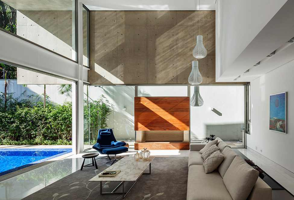 living room design MG-Residence-Modern-Mansion-Luxury-and-Style-Reinach-Mendonça-Arquitetos-in-São-Paulo