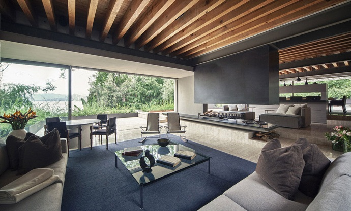black and white living room interior design MZ House by CHK Arquitectura-Modern Mansion in the Green Heaven