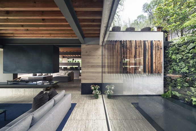 living room interior design MZ House by CHK Arquitectura-Modern Mansion in the Green Heaven