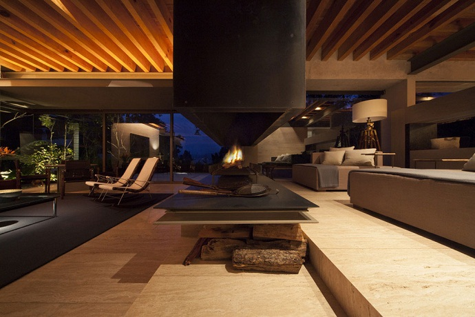 huge chimney in the MZ House by CHK Arquitectura-Modern Mansion in the Green Heaven