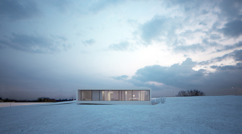 Minimalist mansion in the icelandic plane reykjavik house for Famous minimalist buildings