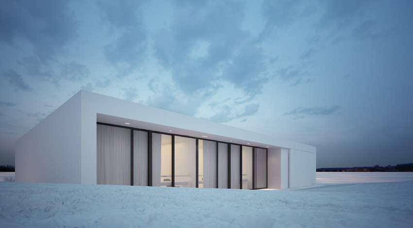 perspective design Minimalist Mansion in the Icelandic Plane-Reykjavik House by MOOMOO Architects homesthetics (14)
