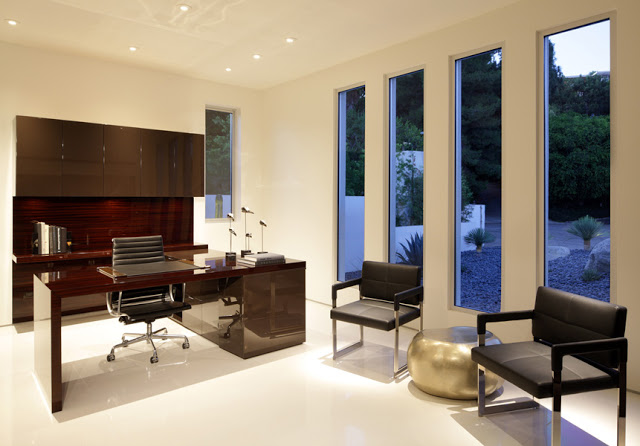 desk design with eames chair Minimalist Modern Dream Home Materialized in Beverly Hills, California homesthetics modern mansion