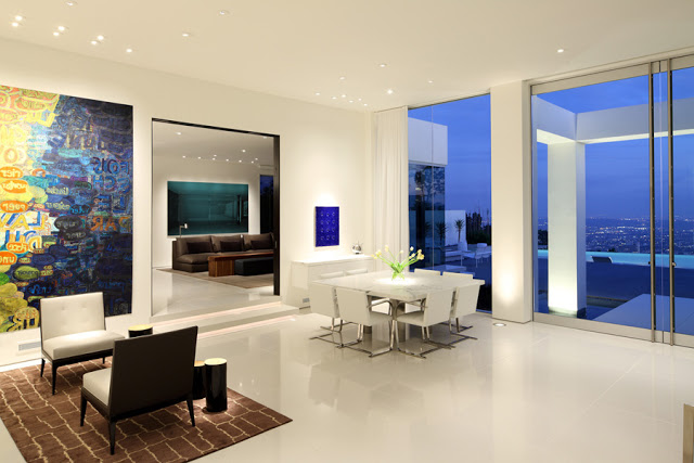 dinning area Minimalist Modern Dream Home Materialized in Beverly Hills, California homesthetics modern mansion