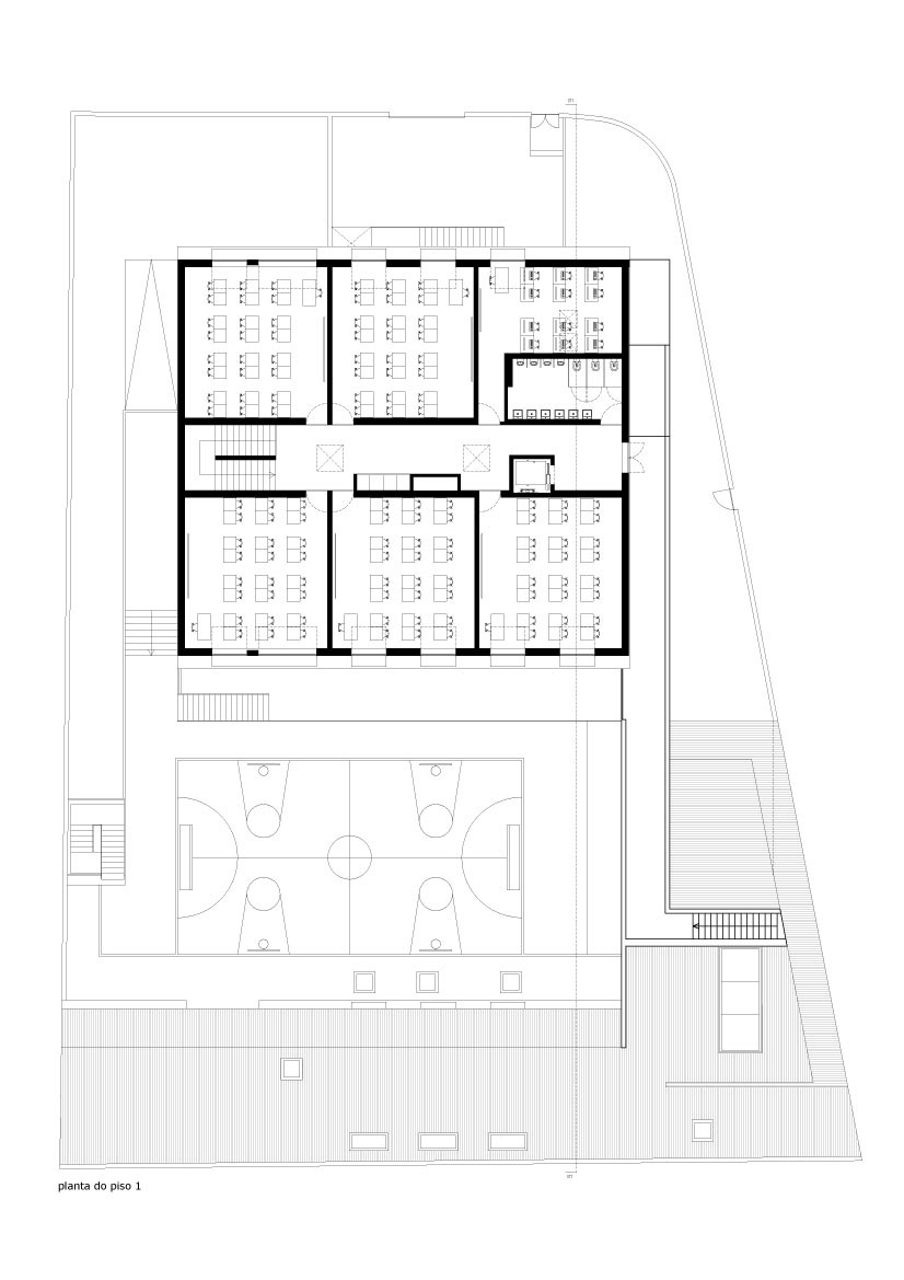 ground floor blueprint Minimalist-Private-College-Designed-by-OVAL-Exudes-Contemporary-Style