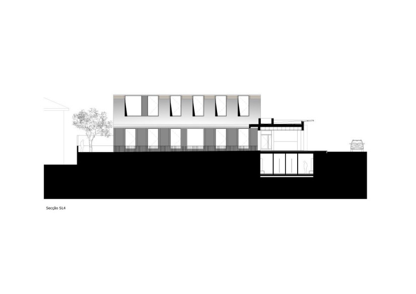 facade and section plane trough Minimalist-Private-College-Designed-by-OVAL-Exudes-Contemporary-Style