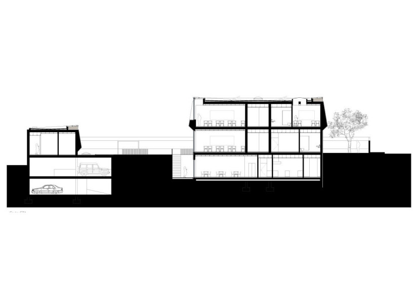section plane trough Minimalist-Private-College-Designed-by-OVAL-Exudes-Contemporary-Style