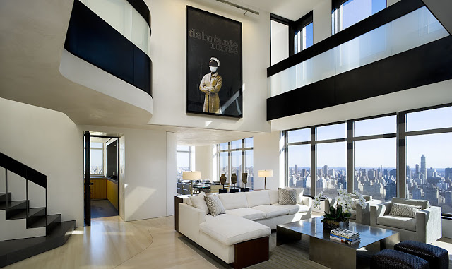 modern central park west penthouse duplex in manhattan new york by gwathmey siegel associates. Black Bedroom Furniture Sets. Home Design Ideas