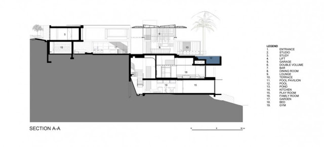 living room interior design with infinity swimming pool Modern Dream Home - De Wet 34 in South Africa bt SAOTA & OKHA