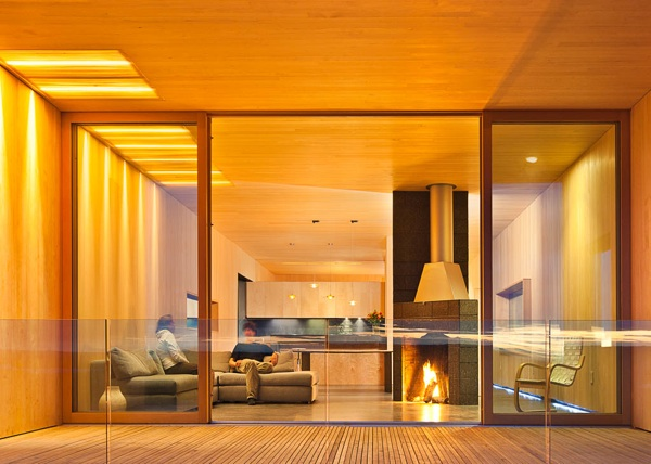 modern interior fireplace design in Modern Dream Home in the Wild-House for a Musher by Mayer Sattler-Smith Homesthetics