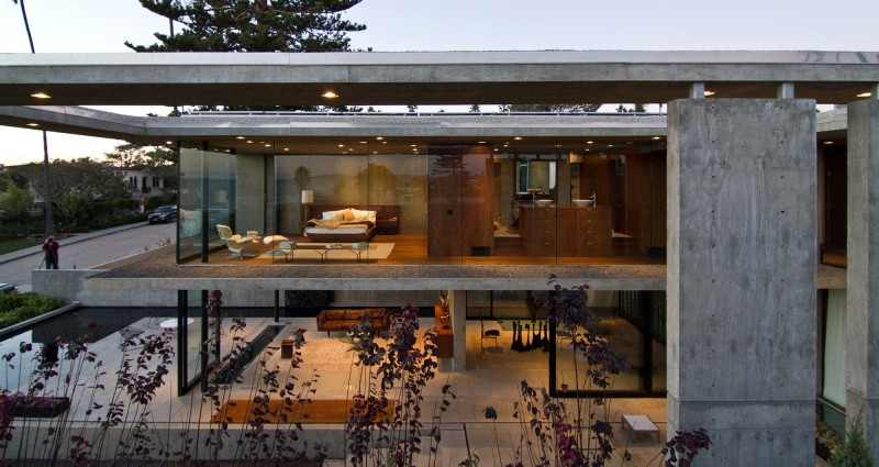 facade Modern Mansion Featuring Exposed Concrete - Cresta Residence in San Diego, California, USA