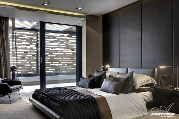 bedroom interior design Modern Residence on Head Road 1843 by Antoni Associates in Cape Town