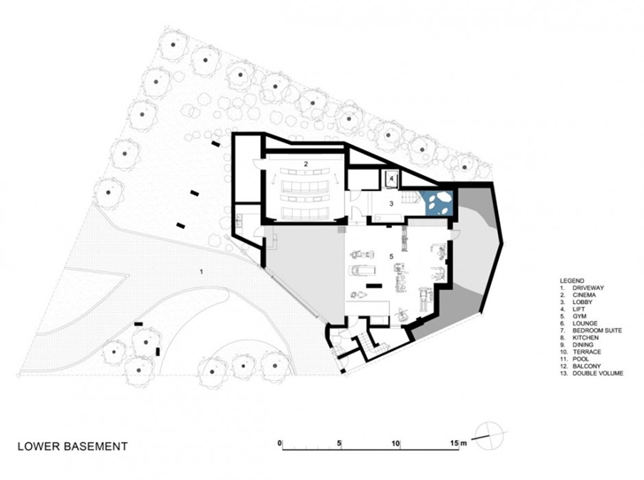 blueprint section plane ground floor of the Modern Residence on Head Road 1843 by Antoni Associates in Cape Town