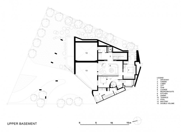 Modern residence on head road 1843 by antoni associates in cape town blueprint section plane ground floor of the modern residence on head road 1843 by antoni associates malvernweather Images