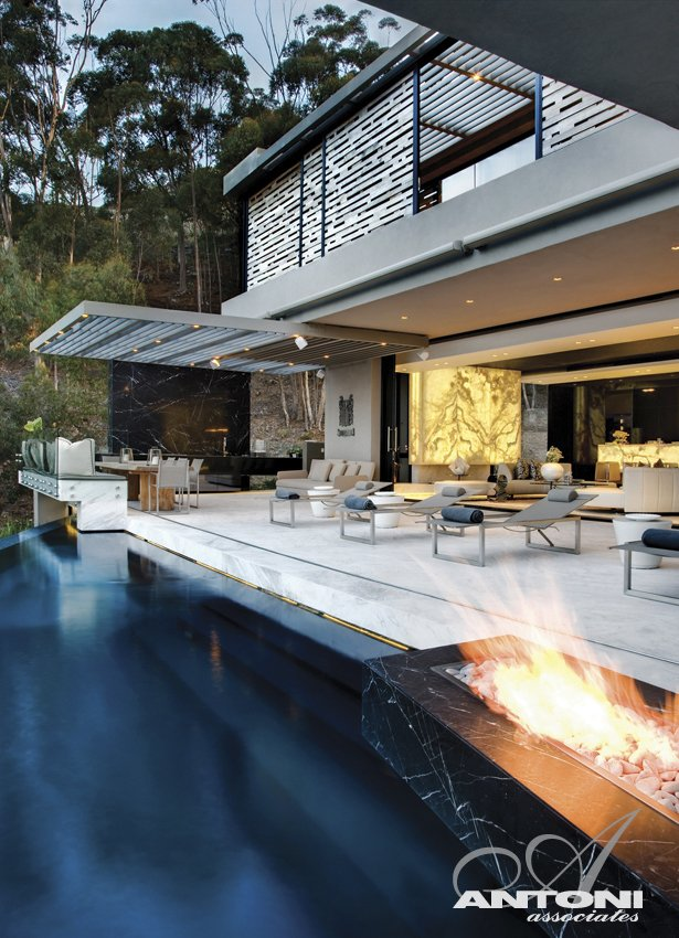 terrace patio swimming pool Modern Residence on Head Road 1843 by Antoni Associates in Cape Town