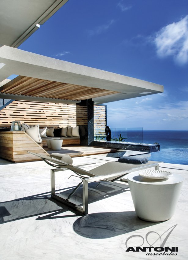 terrace patio infinity swimming pool Modern Residence on Head Road 1843 by Antoni Associates in Cape Town