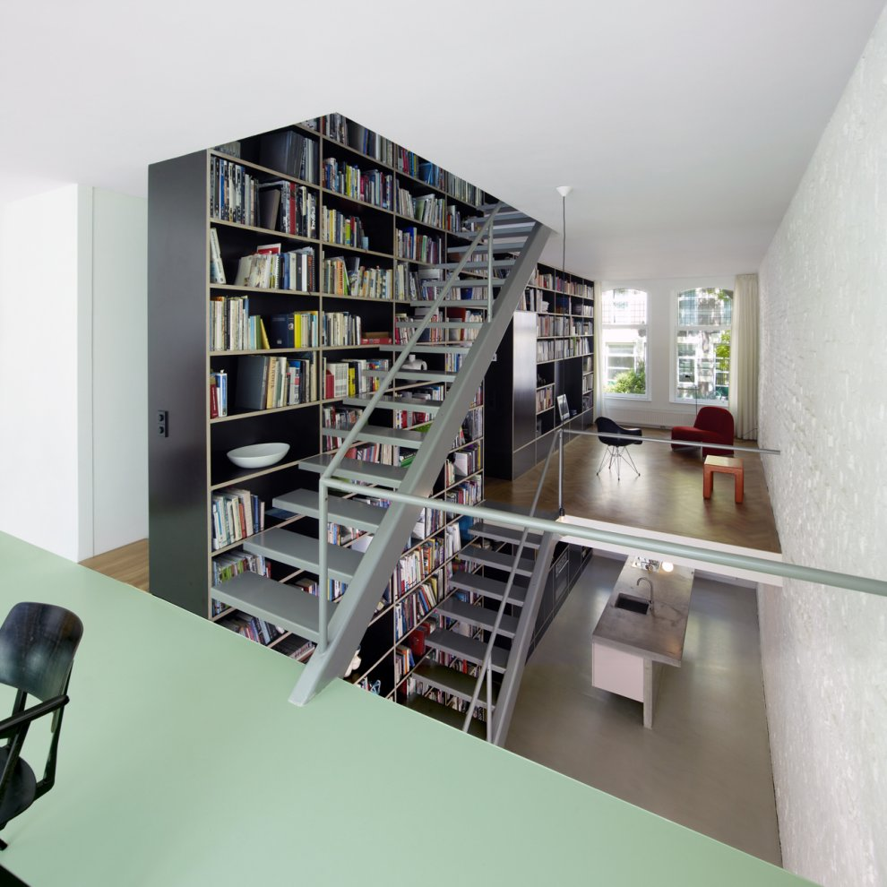 half floor Modern Vertical Penthouse in Rotterdam by Shift Architects Preserving Elements of the Old Casco