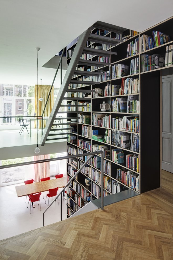 huge library Modern Vertical Penthouse in Rotterdam by Shift Architects Preserving Elements of the Old Casco