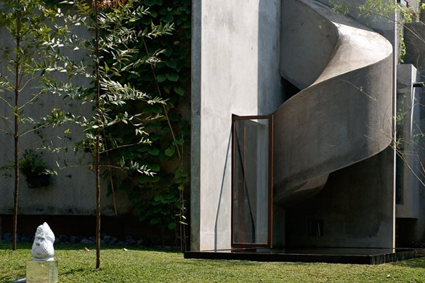rough exterior concrete in One of a Kind Modern Mansion-The Playhouse in Indonesia by Aboday ArchitectsOne of a Kind Modern Mansion-The Playhouse in Indonesia by Aboday Architects