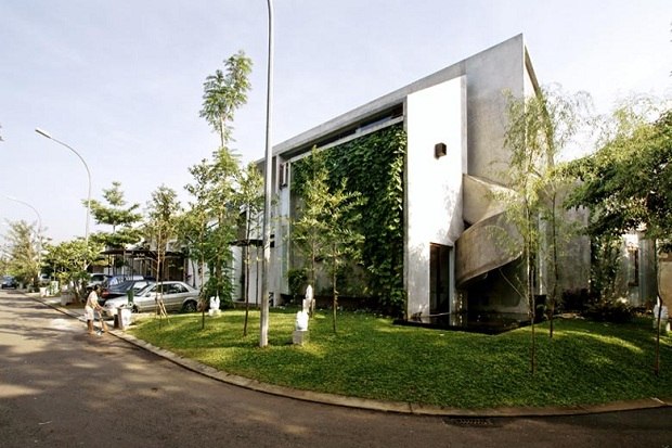 exterior view One of a Kind Modern Mansion-The Playhouse in Indonesia by Aboday Architects