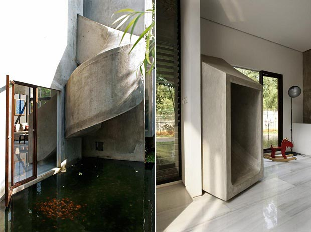 concrete slide in One of a Kind Modern Mansion-The Playhouse in Indonesia by Aboday Architects