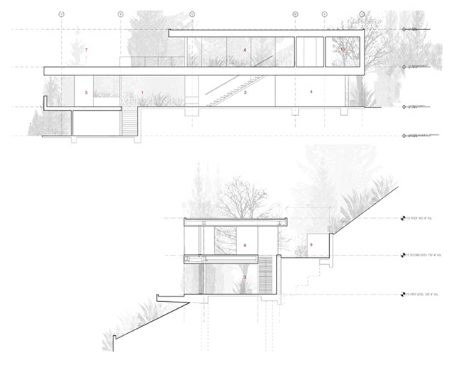 blueprint ground floor section plane of OpenHouse-Designed-by-XTEN-Architecture-Modern-Hollywoodian-Mansion-in-California-homesthetics