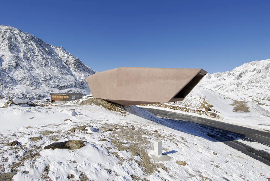Pass Museum in Tyrol:Tribute Sculpture by Werner Tscholl Architect unusual shape shape