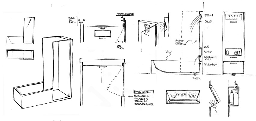 concept sketch Red Black and White Modern Bathroom Collection by Claudia Danelon and Frederico Meroni  homesthetics (23)