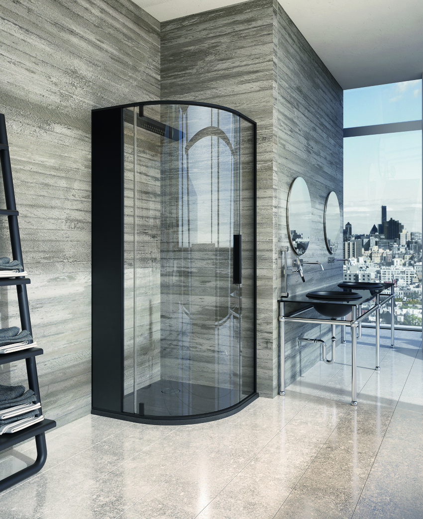 corner glass shower Red Black and White Modern Bathroom Collection by Claudia Danelon and Frederico Meroni  homesthetics (23)