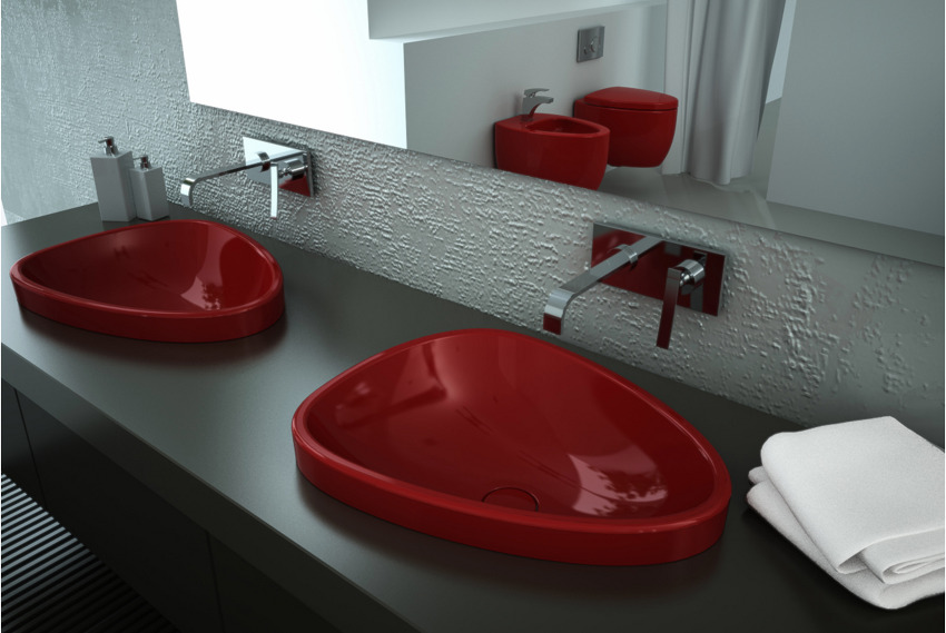 red sink Red Black and White Modern Bathroom Collection by Claudia Danelon and Frederico Meroni  homesthetics (23)