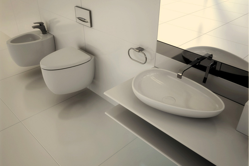 sculptural sink and toilet Red Black and White Modern Bathroom Collection by Claudia Danelon and Frederico Meroni  homesthetics (23)