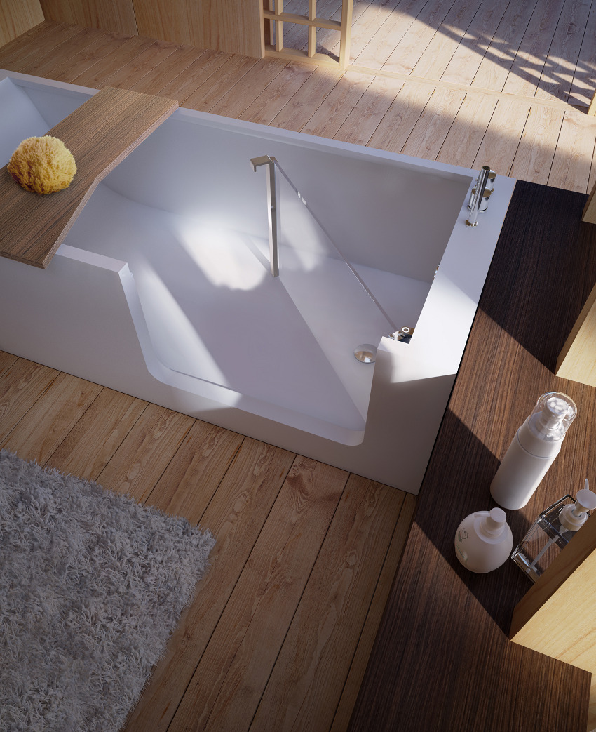 bathtub with door Red Black and White Modern Bathroom Collection by Claudia Danelon and Frederico Meroni  homesthetics (23)