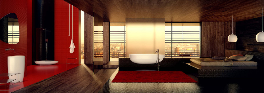 breathtaking bathroom design Red Black and White Modern Bathroom Collection by Claudia Danelon and Frederico Meroni  homesthetics (23)