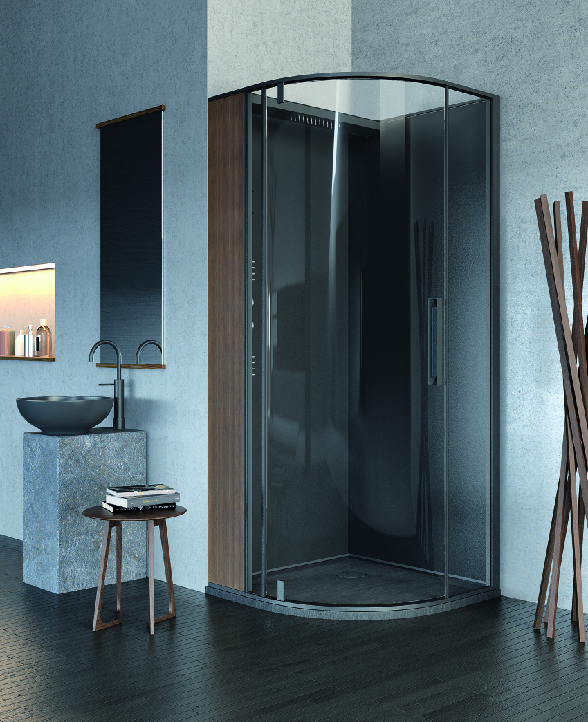 corner glass shower in the Red Black and White Modern Bathroom Collection by Claudia Danelon and Frederico Meroni  homesthetics (23)