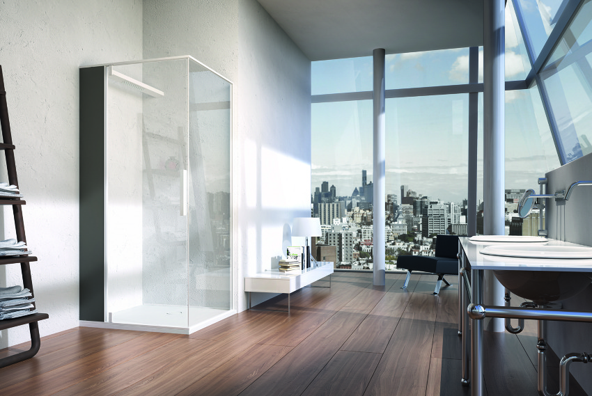 glass shower Red Black and White Modern Bathroom Collection by Claudia Danelon and Frederico Meroni  homesthetics (23)