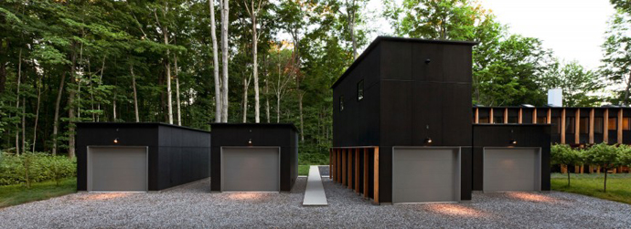 black Small Modern Mansions in The Forest - Yingst Retreat by Salmela Architect design