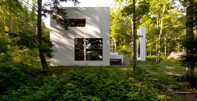 small modern Small Modern Mansions in The Forest - Yingst Retreat by Salmela Architect