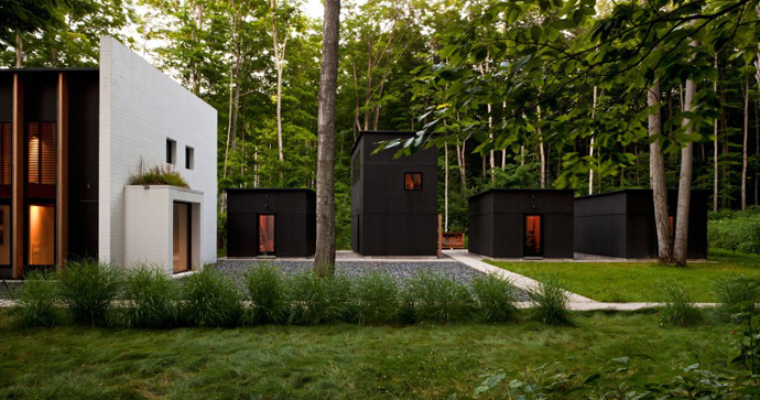 black Small Modern Mansions in The Forest - Yingst Retreat by Salmela Architect
