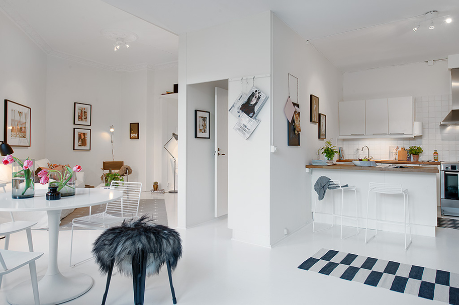 entrance to the Small Single Room Apartment in Black and White - Gothenburg, Sweden